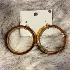 New amber and gold colored hoop earrings